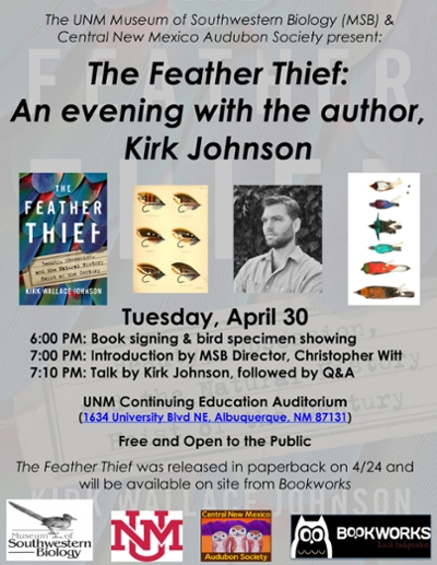 The Feather Thief: An evening with the author, Kirk Johnson poster